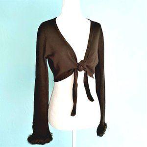 VINTAGE Viscose Shrug, Front Tie, Fur Details